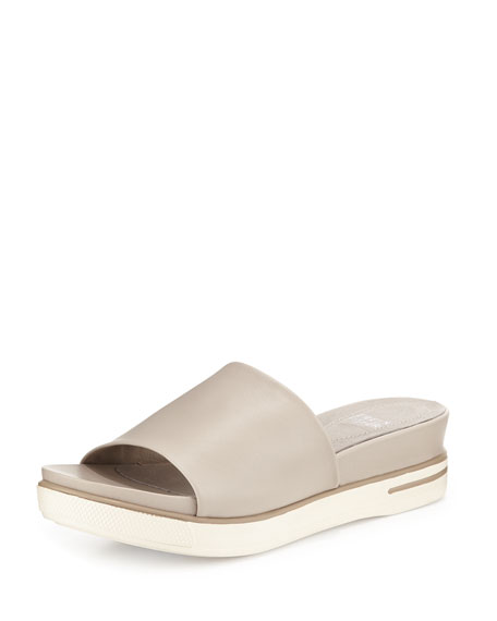 Eileen Fisher Scout Leather Single-Band Sandal, Barley