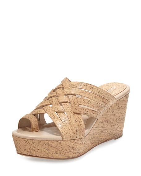 Flore Woven Platform Wedge Sandal, Natural