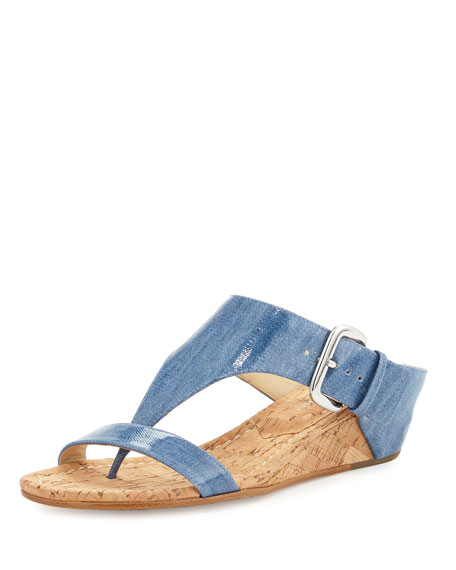 Donald J Pliner Doli Demi-Wedge Slide Sandal, Soft Blue
