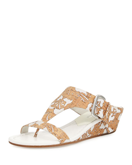 Donald J Pliner Doli Demi-Wedge Slide Sandal, Natural/White
