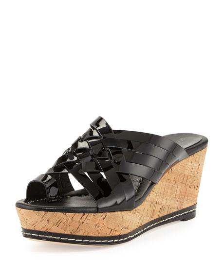 Donald J Pliner Flore Woven Platform Wedge Sandal, Black