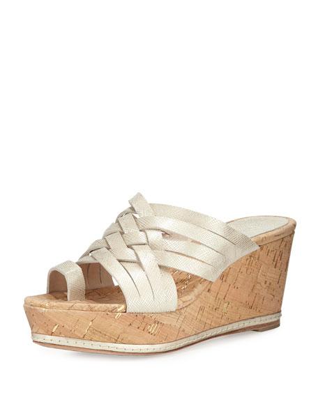 Donald J Pliner Flore Woven Platform Wedge Sandal, Platino