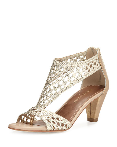 Donald J Pliner Verona Woven Leather Sandal, Platino