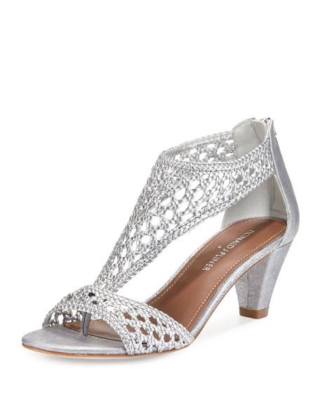 Donald J Pliner Verona Woven Leather Sandal, Silver