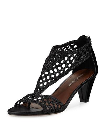Verona Woven Leather Sandal, Black
