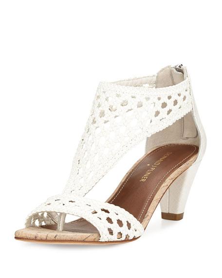 Donald J Pliner Verona Woven Leather Sandal, White