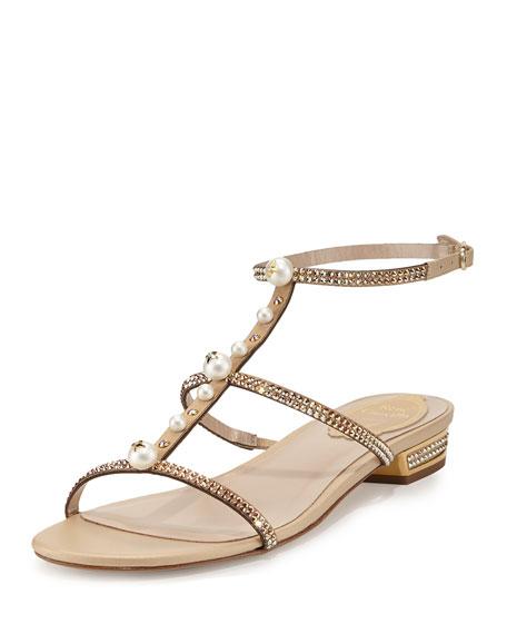 Rene Caovilla Embellished T-Strap Flat Sandal, Gold