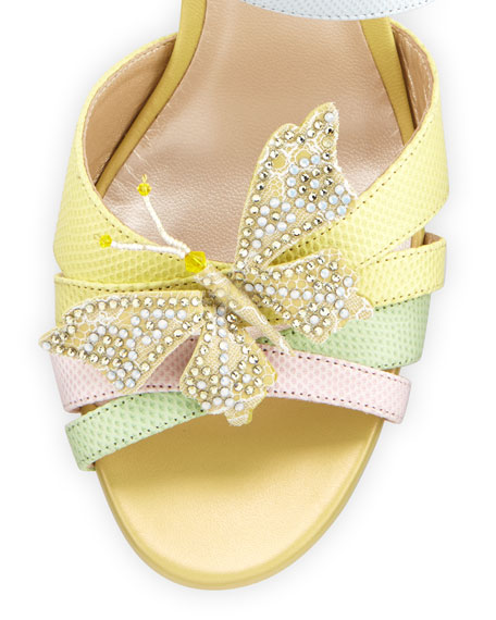 Butterfly Colorblock Snakeskin Wedge Sandal, Pink/Yellow/Green