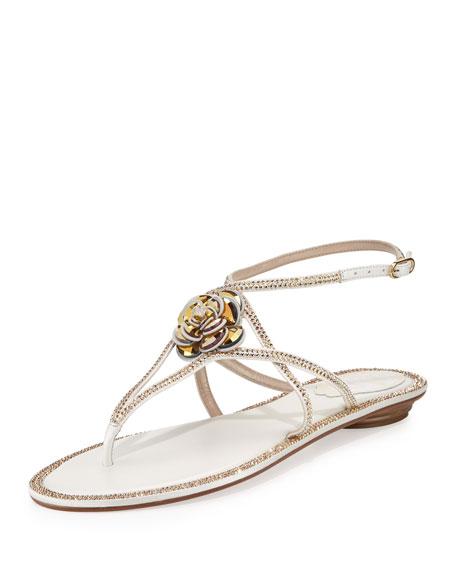 Rene Caovilla Floral Crystal-Trim Flat Thong Sandal, White