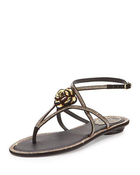 Rene Caovilla Floral Crystal-Trim Flat Thong Sandal, Black