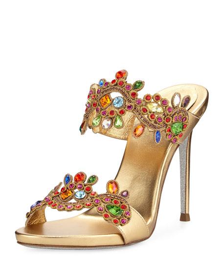 Rene Caovilla Jeweled Two-Band Mule Sandal, Multi