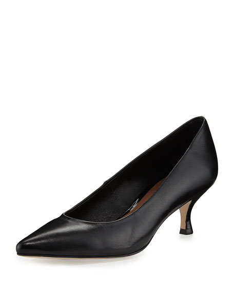 Donald J Pliner Rome Leather Low-Heel Pump, Black