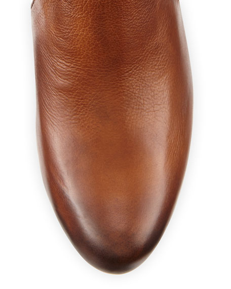 Marissa Short Leather Boot, Cognac