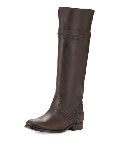 Melissa Leather Tall Riding Boot, Dark Brown