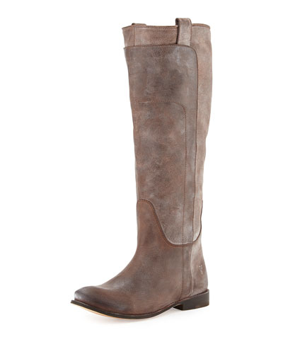 Paige Tall Leather Riding Boot, Dark Brown