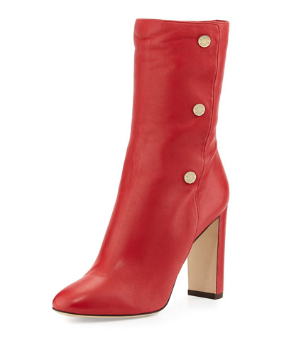 Dayno Leather Mid-Calf Boot, Red