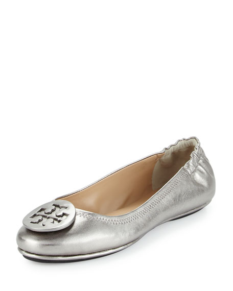 Tory Burch Minnie Travel Logo Ballerina Flat, Gunmetal