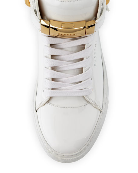 Women's 100mm Belted Patent High-Top Sneaker, White