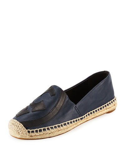 Lonnie Logo Espadrille Flat, Bright Navy/Black