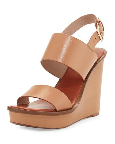 Lexington Leather Wedge Sandal, Natural Blush