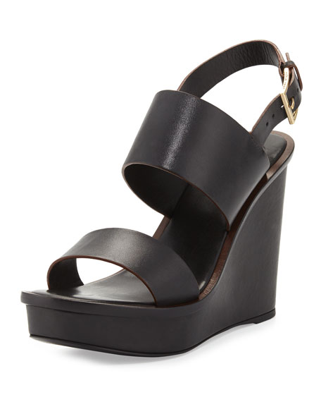 Tory Burch Lexington Leather Wedge Sandal, Black