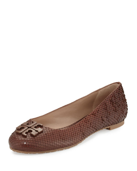 Lowell 2 Snake-Embossed Ballerina Flat, Brown
