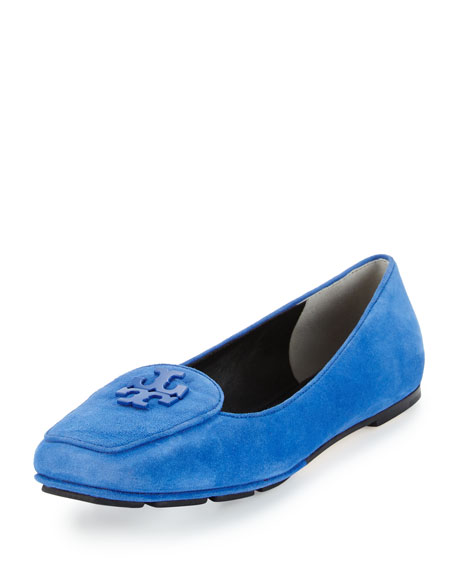 Tory Burch Fitz Suede Logo Loafer, Jelly Blue