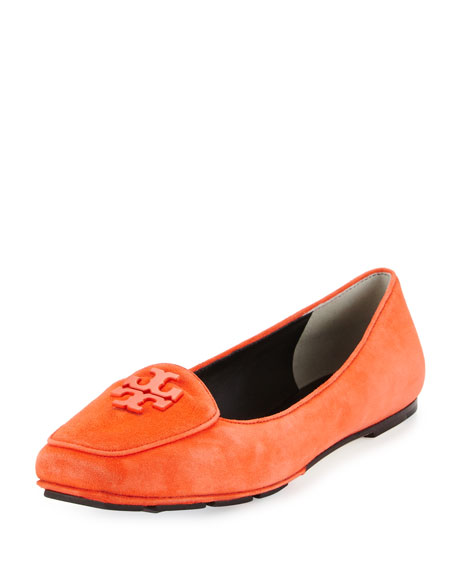 Tory Burch Fitz Suede Logo Loafer, Poppy Red