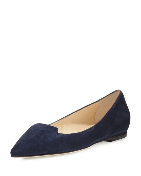 Jimmy Choo Attila Suede Pointed-Toe Flat, Navy