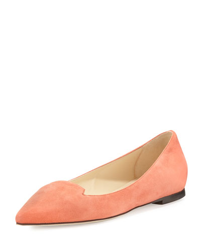 Jimmy Choo Attila Suede Pointed-Toe Flat, Agate