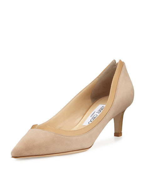 Jimmy Choo Imogen Pointed-Toe Kitten-Heel Pump, Nude