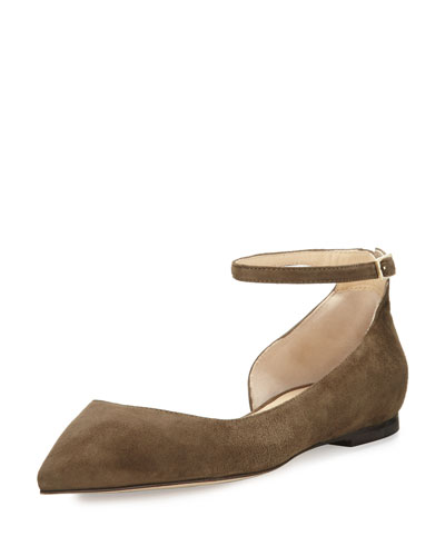 Jimmy Choo Lucy Suede Half-d'Orsay Flat, Moss