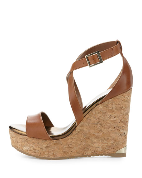 Portia Leather Crisscross Wedge Sandal, Camel