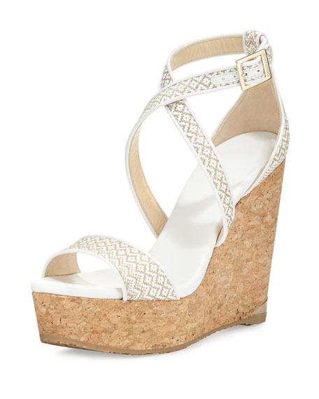 Jimmy Choo Portia Woven Crisscross Wedge Sandal, White/Marble