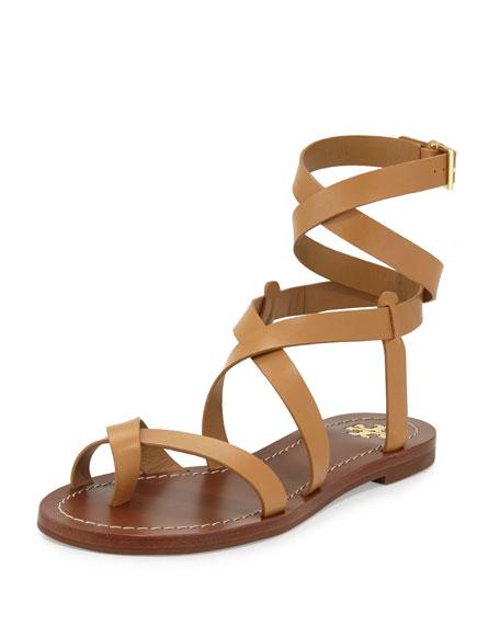 Tory Burch Patos Crisscross Leather Sandal, Blond