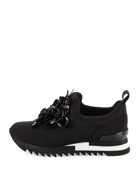 Blossom Neoprene Sneaker, Black