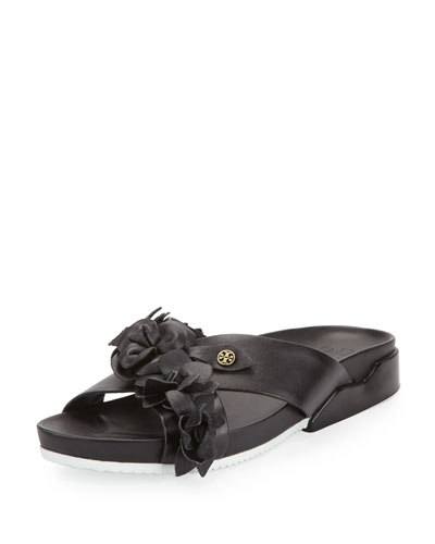 Blossom Leather Slide Sandal, Black