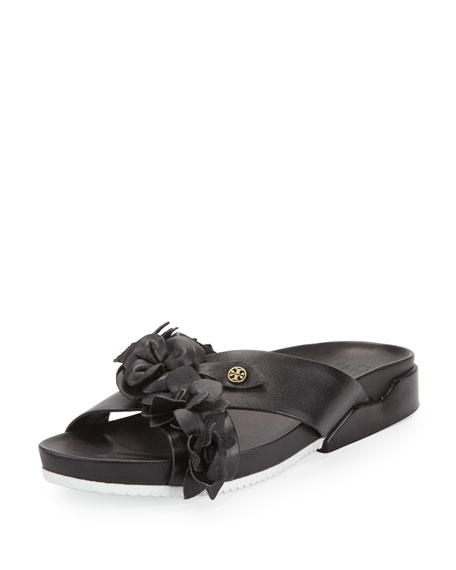 Tory Burch Blossom Leather Slide Sandal, Black