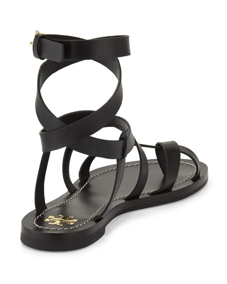 Patos Crisscross Leather Sandal, Black
