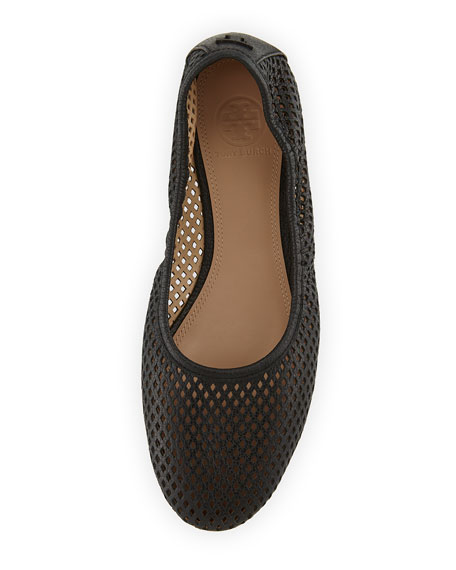 Whittaker Perforated Leather Ballerina Flat, Black