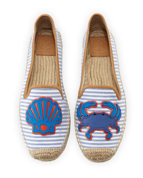 Tory Burch Crab Striped Espadrille Flat, Chicory/Ivory