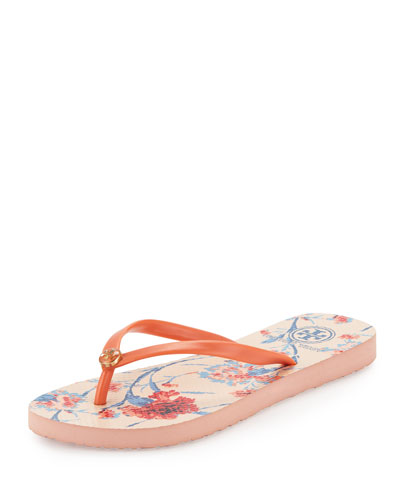 Floral Thin Thong Sandal, Sea Coral/Canation