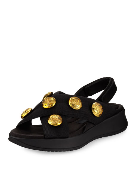 Burberry Actonshire Studded Crisscross Sandal, Black