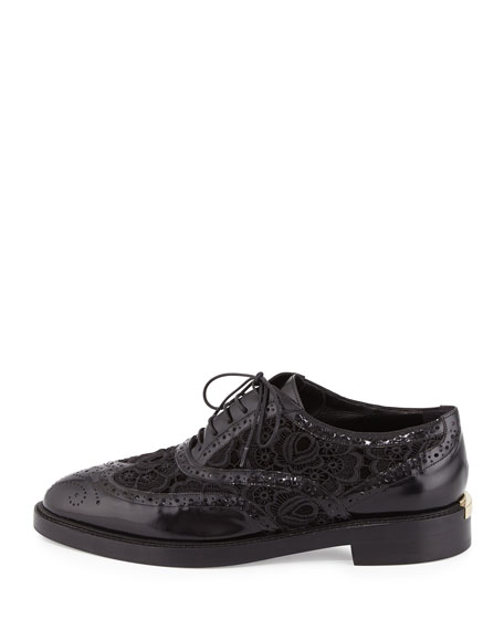 Gennie Lace Wing-Tip Oxford, Black