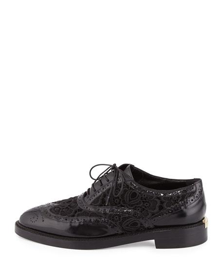 Gennie Lace Wing-Tip Oxford, Black