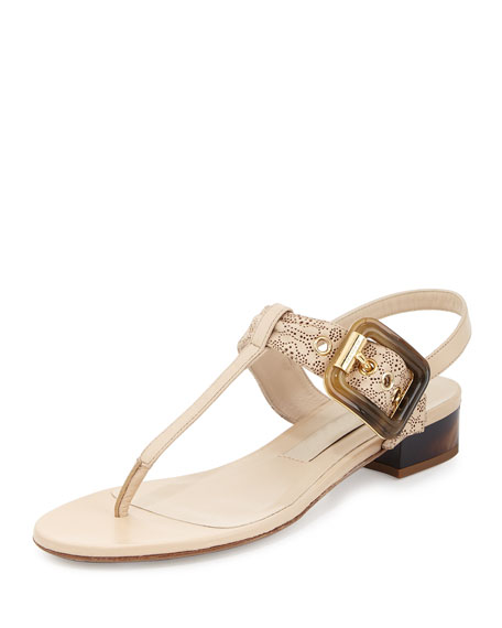 Burberry Ceilab Laser-Cut Buckle Sandal, Light Nude