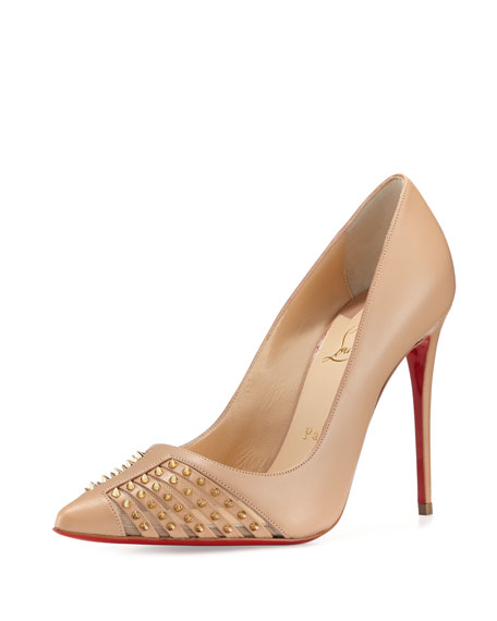 Christian Louboutin Baretta Studded Red Sole Pump, Nude