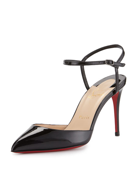 Rivierina Patent Ankle-Wrap Red Sole Pump, Black