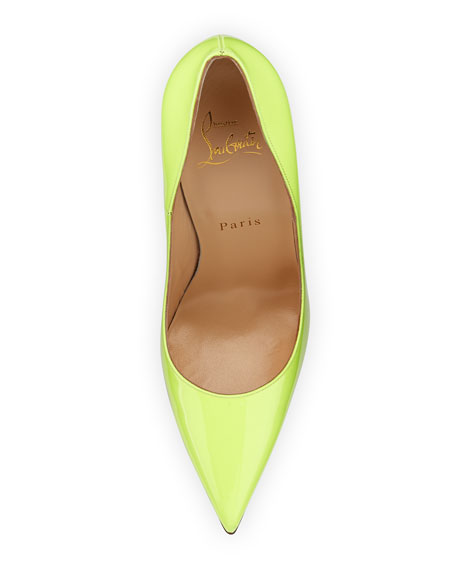 So Kate Patent 120mm Red Sole Pump, Light Green
