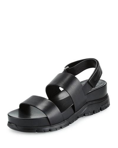 ZeroGrand™ Leather Slingback Sandal, Black